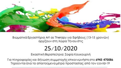 Photo of Τήνος – Βιωματικά Εργαστήρια Art as Therapy Εφήβων